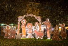 Nativity Scene In Night Prague At Christmas Time.