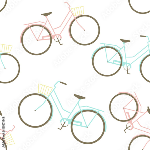 Cotton fabric Seamless Pattern with Bikes