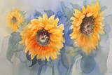 sunflowers on green background watercolor - 129275201