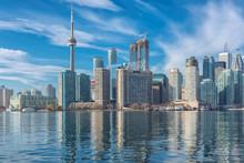 Skyline Of Toronto With CN Tower Over Ontario Lake, Canada
