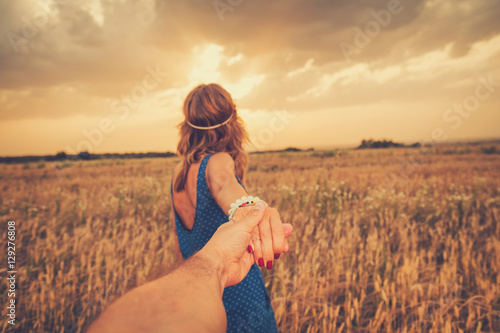 Girl taking her man to the wheat field. Poster