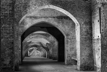 An Ancient Fortified Tunnel In Vigevano,Italy.Black And White Photo.