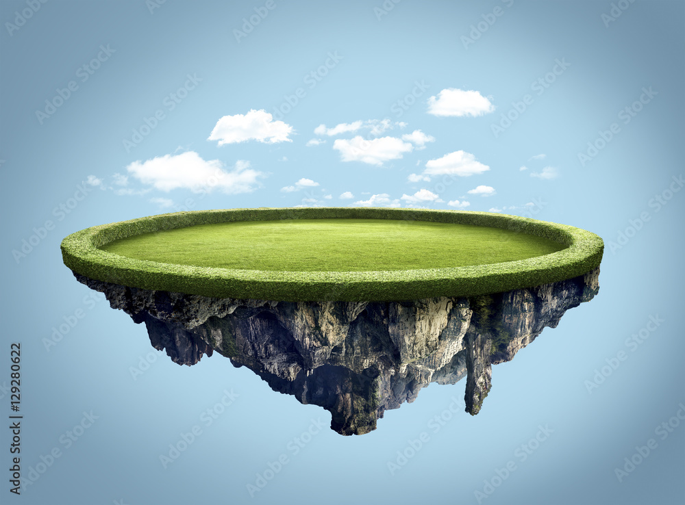 Fototapety, obrazy: Amazing island floating in the air with clouds