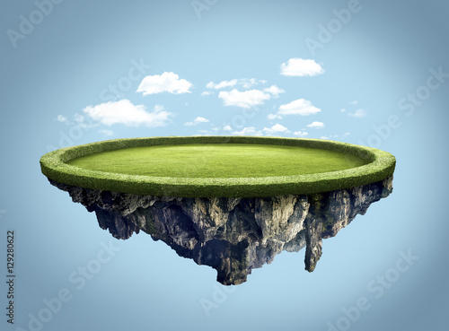 Amazing island floating in the air with clouds
