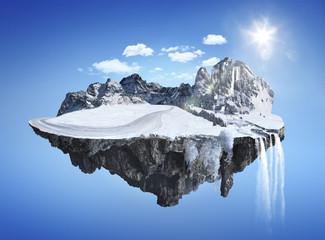 Fototapeta na wymiar Magic winter island with floating islands, water fall and snow