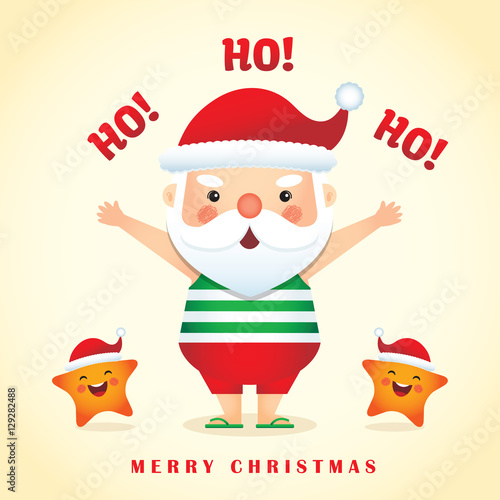 Merry christmas greetings with cute cartoon santa claus wearing merry christmas greetings with cute cartoon santa claus wearing sunglasses tank top short pants m4hsunfo