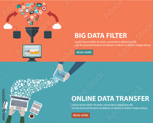 Fotografia, Obraz  Online data transfer concept and big data filter creative process