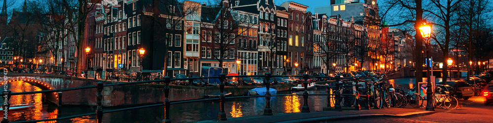 Photo  Amsterdam, Netherlands canals and bridges