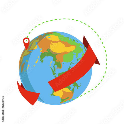 Globe With Red Arrow Going Around And Marked Destination Delivery ...