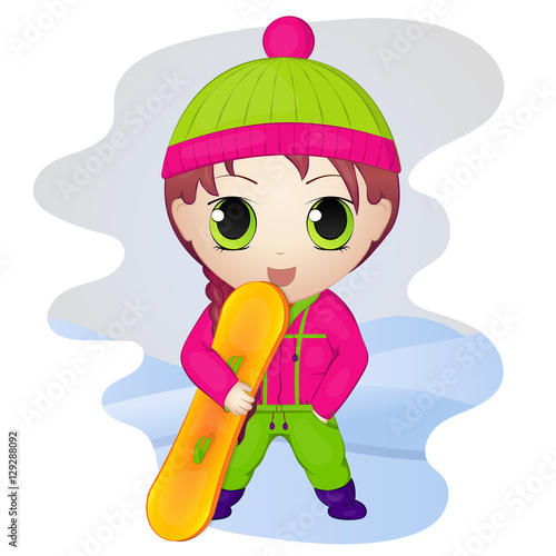 Cute anime chibi little girl with snowboard Poster