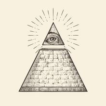All Seeing Eye Pyramid Symbol. New World Order. Hand Drawn Sketch Vector