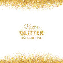 Background With Glitter Golden Frame And Space For Text.