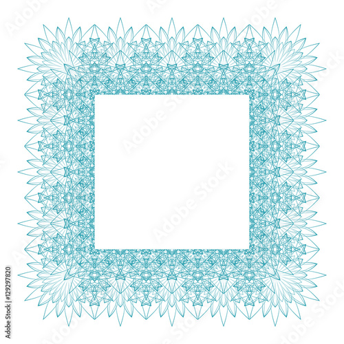 Square Border Frame With Abstract Guilloche Lace Contour On White