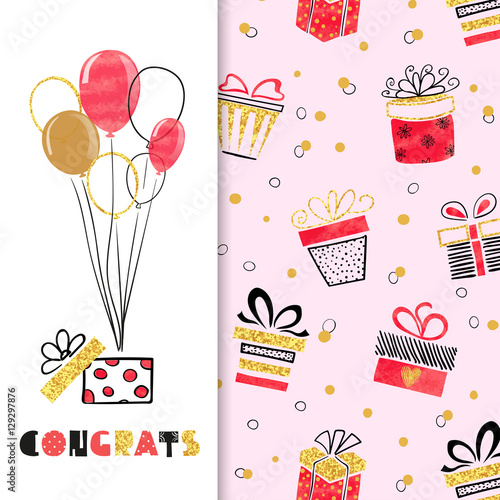 Watercolor Birthday Greeting Card Design In Red Black And Golden