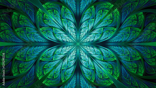 Obraz Abstract fractal background, blue-green mosaic pattern with curved stripes - fototapety do salonu