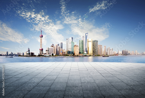 Photo  Panoramic view of shanghai China skyline with huangpu river at d