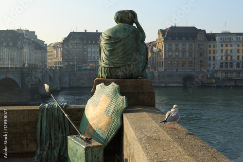 Obraz na plátně Helvetia statue on the Rhine in Basel