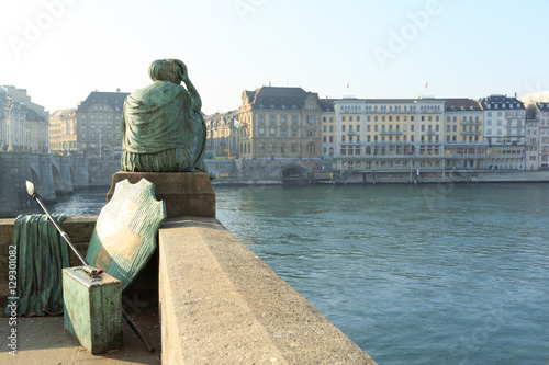 Helvetia statue on the Rhine in Basel Tablou Canvas