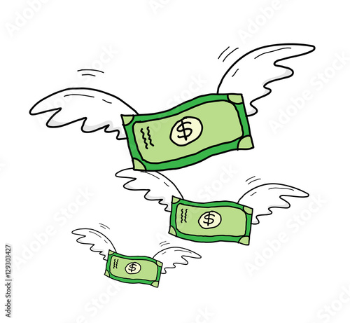 Fotografie, Obraz  Group of Dollar Money With Wings Flying