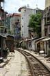 Residential area nearby railway tracks in Hanoi, Vietnam