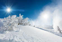 Winter Landscape Of The Mountains In Austria.