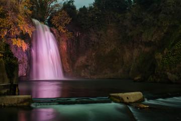 Isola del Liri waterfall by night, Ciociaria, Italy