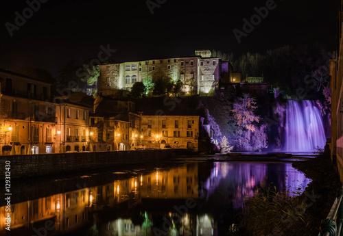 Fotografie, Obraz  Isola del Liri waterfall and castle by night, Ciociaria, Italy