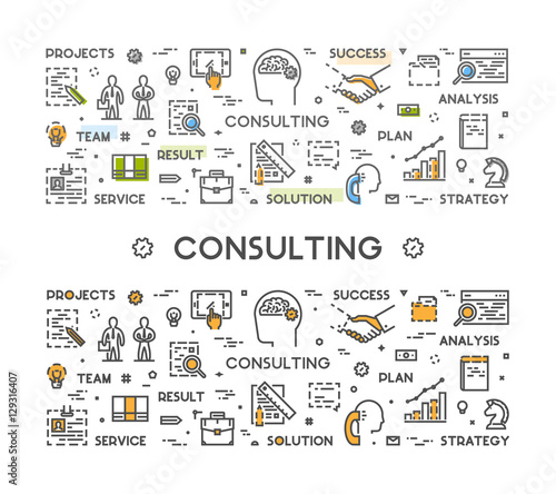 Photo  Vector line web concept for business consulting.