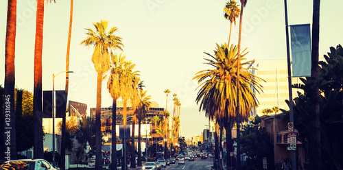 Poster Los Angeles Hollywood boulevard at sunset