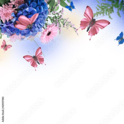Amazing background with hydrangeas and daisies Obraz na płótnie
