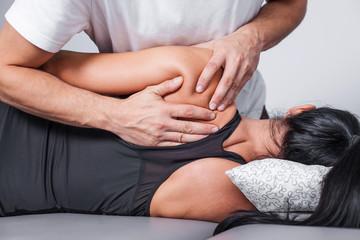 Body massage in spa.