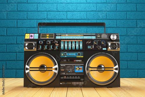 Fotografia  Musical tape player recoreder. Vintage radio FM player