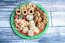 Assortment Of Christmas Cookies On A Platter