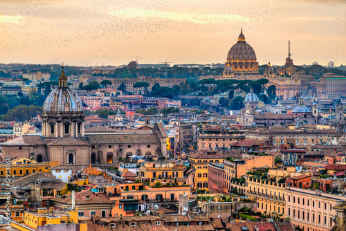 Photo Stands Rome Rome at sunset time with St Peter Cathedral