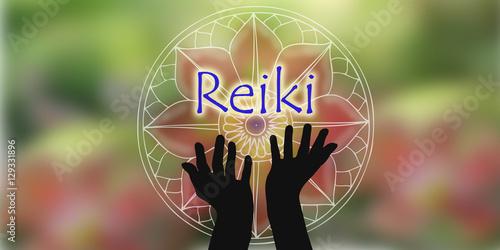 Photo  Reiki design hands natural background