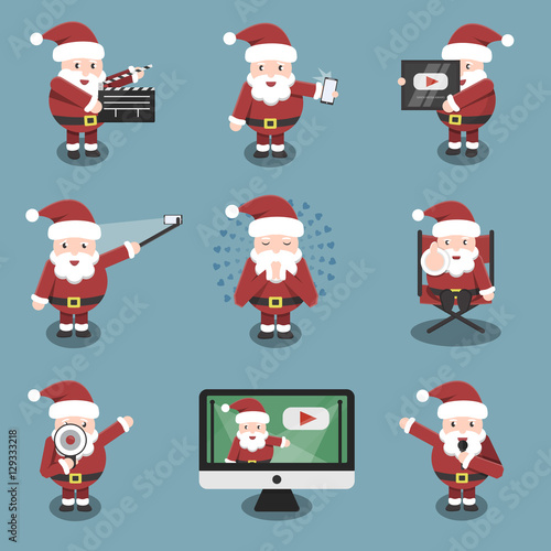 Collection of vector cartoon Santa Claus character in social media and blogging situations and poses Canvas Print
