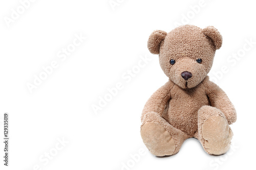 Brown teddy bear sit on white background. #129335019