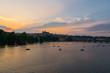 Sunset over Vltava river, Charles Bridge and the Castel, Czech Republic