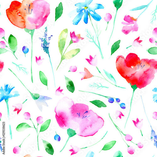 Cotton fabric Floral seamless pattern with poppy flowers,bluebell, lavender, cornflower, chamomile and daisy. Watercolor hand drawn illustration.White background.