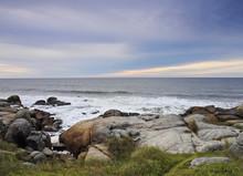 Uruguay, Rocha Department, Punta Del Diablo, Rocky Coast To The North Of The Village.