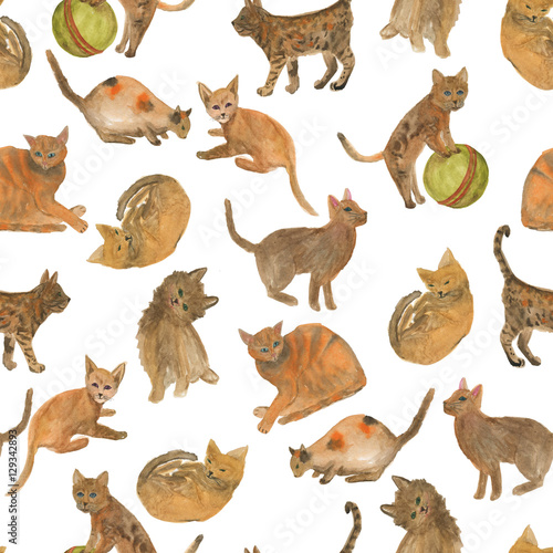 La pose en embrasure Squirrel Watercolor painting Seamless Pattern with funny cats