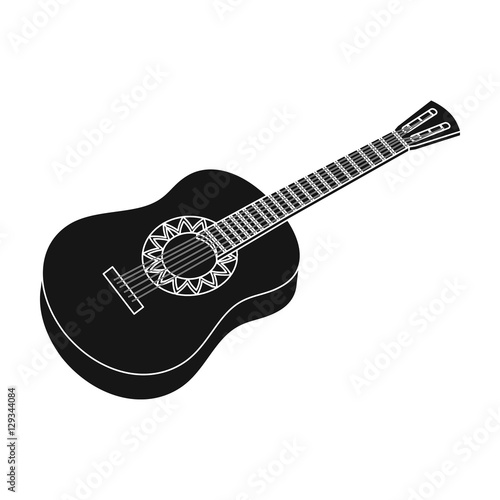 Mexican Acoustic Guitar Icon In Black Style Isolated On White