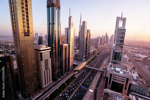 Fotografie, Obraz  Dubai skyline in sunset time, United Arab Emirates