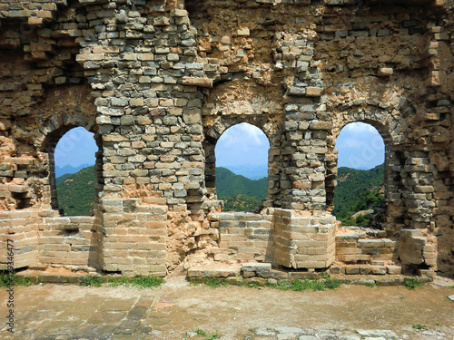 Fotografie, Obraz  Ancient Great Wall of China section with windows and crumbling brick