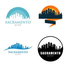 Sacramento City Skyline Landscape Logo Symbol Set