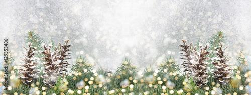 Fototapeta Pinecones and fir tree on sparkling background. obraz