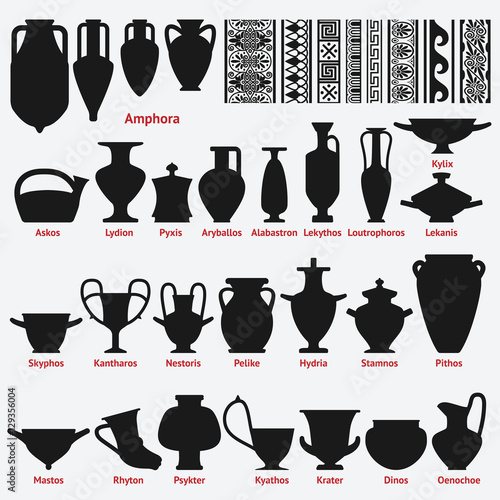 Set of antique Greek vases and border decoration seamless patterns Canvas Print