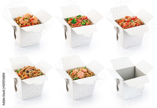Chinese food collection isolated on white background.