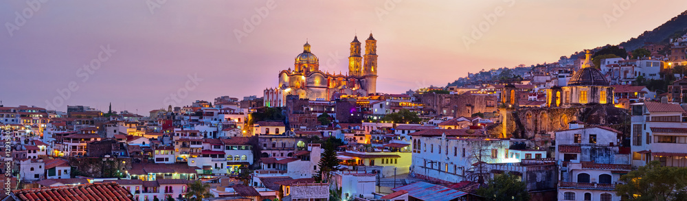 Fototapety, obrazy: Panorama of Taxco city at sunset, Mexico