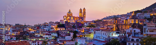 Poster Mexico Panorama of Taxco city at sunset, Mexico